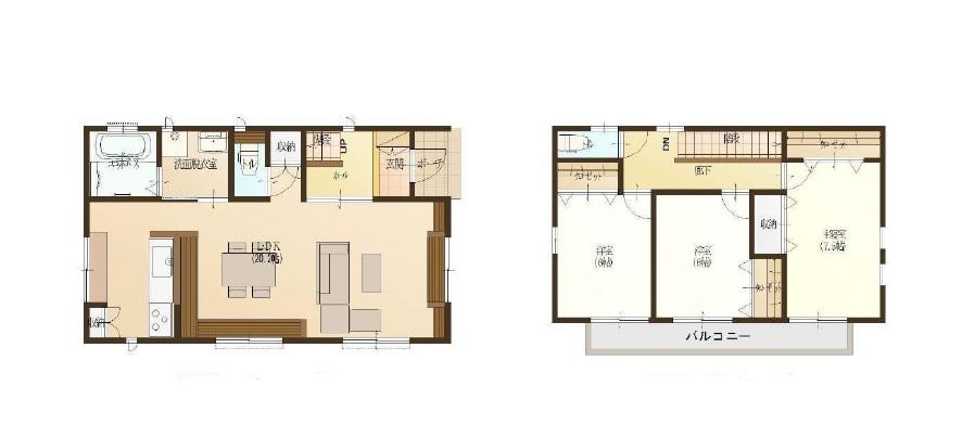 新築住宅 伊勢崎市太田町 20帖の広々したリビングの間取りです。